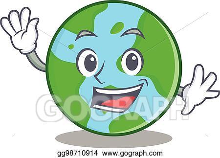 Vector Illustration Waving World Globe Character Cartoon Stock