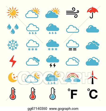 vector art weather forecast colorful icons eps clipart gg67140350 rh gograph com weather forecast clippesby august 2017 weather forecast clipsham