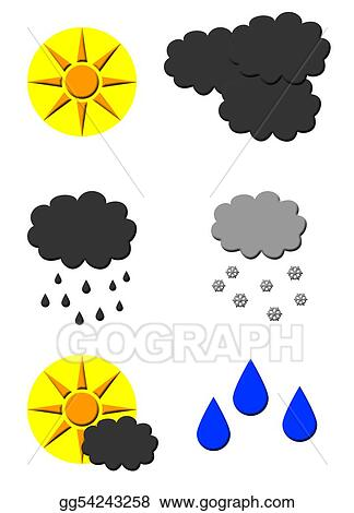 Drawing Weather Forecast Symbols Clipart Drawing Gg54243258 Gograph