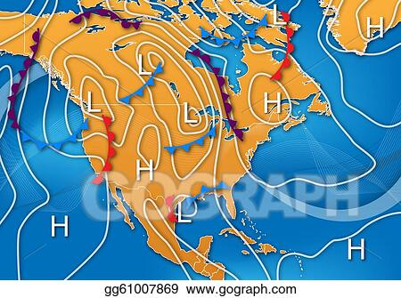 Weather Map Of America.Drawings Weather Map Of North America Stock Illustration
