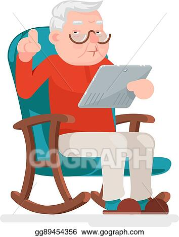 vector illustration - web surfing online shopping old man character