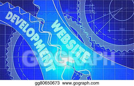 Stock illustrations website development on the gears blueprint website development on the gears blueprint style malvernweather Image collections