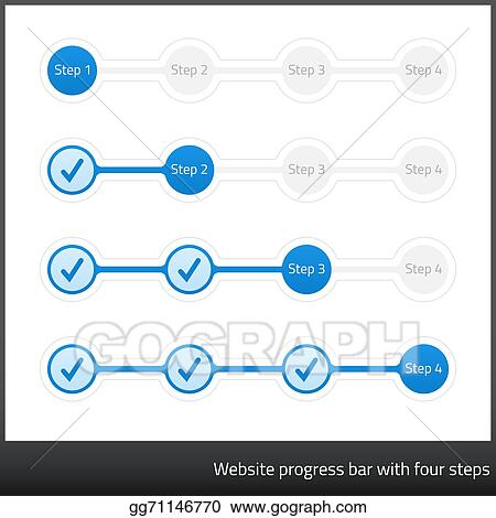Vector Stock - Website progress bar with four step  Stock