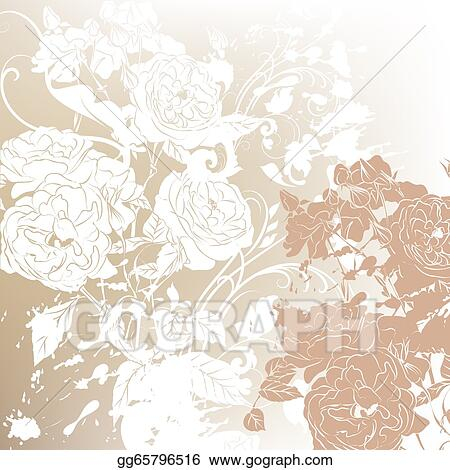 Drawing Wedding Background With Roses Silhouettes Clipart