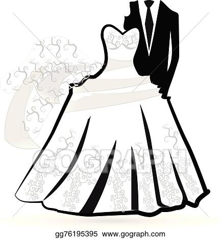 vector art wedding bride and groom card clipart drawing rh gograph com clipart bride and groom cartoon clip art bride and groom shower