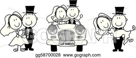 Vector art wedding cartoon invitation clipart drawing vector art set of isolated cartoon couple scenes ideal for funny wedding invitation clipart drawing gg58700028 stopboris Images