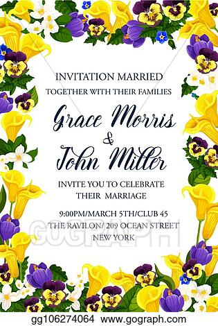Clip Art Vector Wedding Ceremony Invitation With Yellow