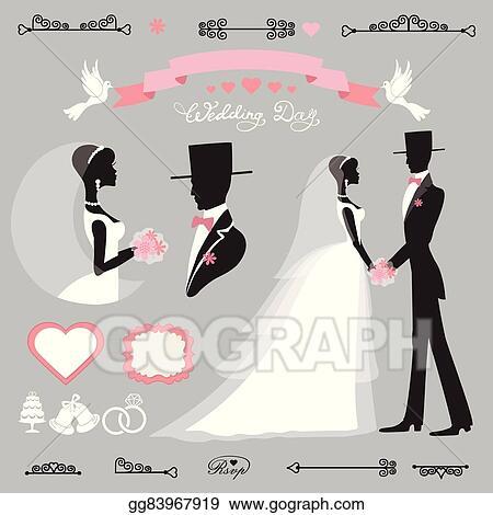 Wedding Decor SetRetroFlat Silhouette Bridegroom