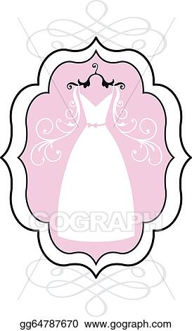 Vector Art - Wedding dress in frame, vector. EPS clipart gg64787670 ...