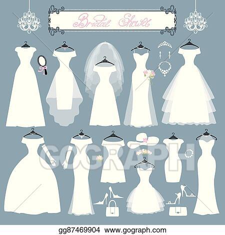 EPS Vector - Wedding dresses,accessories set.fashion flat silhouette ...