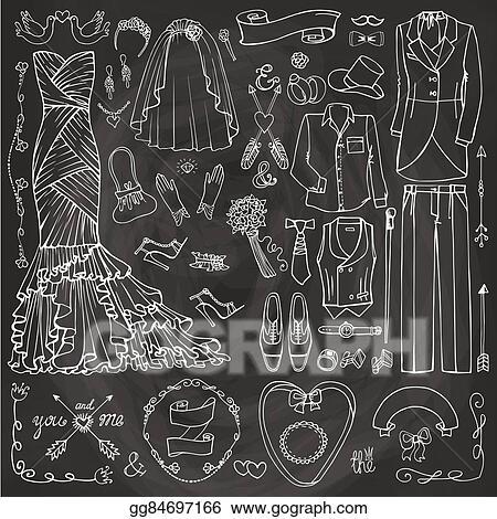 doodle bridegroom dress decor