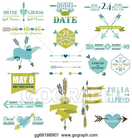 Vector Stock Wedding Graphic Set Arrows Feathers Heart Ribbons And Labels In Vector Clipart Illustration Gg68188907 Gograph