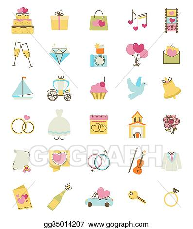 Wedding Icons Set Engagement And Marriage Ceremony Accessories Objects Symbols Vector