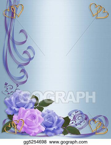 Stock Illustrations - Wedding invitation blue and lavender. Stock ...