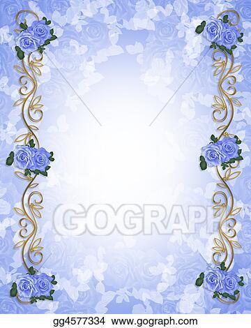 Clip Art Wedding Invitation Blue Roses Borde Stock