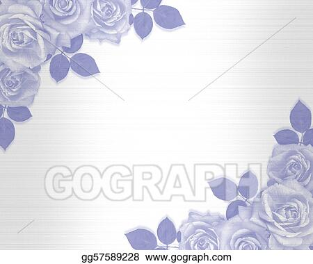 Stock Illustration Wedding Invitation Blue Roses Clipart