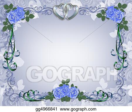 Stock Illustration Wedding Invitation Border Blue Rose Clipart