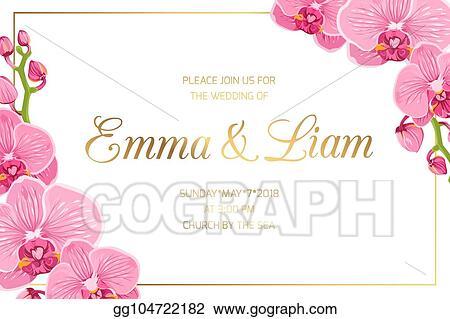 eps illustration wedding invitation border frame corner pink orchid vector clipart gg104722182 gograph https www gograph com clipart license summary gg104722182