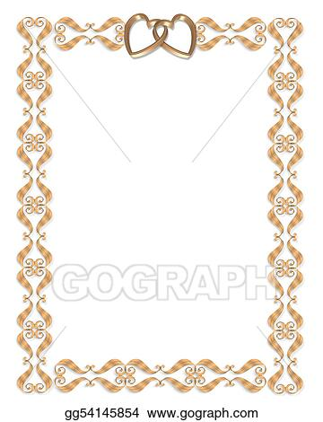 Drawing wedding invitation border gold hearts clipart drawing wedding invitation border gold hearts stopboris Choice Image
