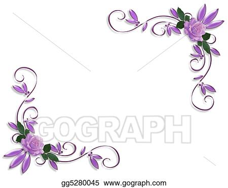 Stock Illustration Wedding Invitation Border Lavender Roses