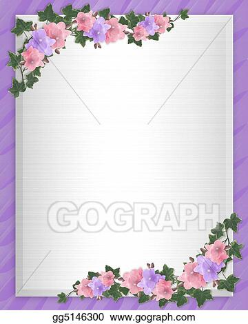 Stock illustration wedding invitation border orchids ivy stock stock illustration illustration and image composition for background pink orchids ivy floral border wedding invitation or template with copy space stopboris Gallery