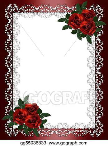 Stock Illustration Wedding Invitation Border Red Roses Clip Art