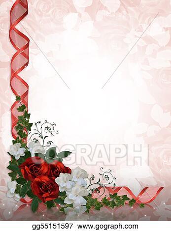 Stock Illustration Wedding Invitation Border Red Roses Clip Art