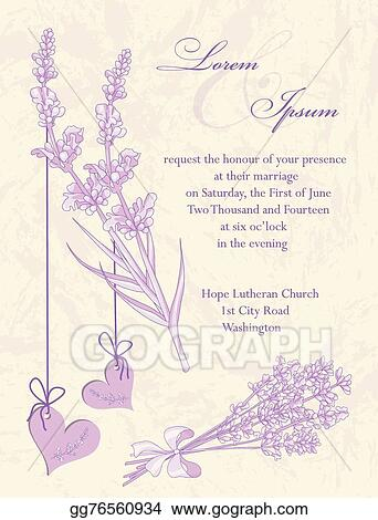 Vector Illustration Wedding Invitation Card Lavender