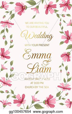 Vector Stock Wedding Invitation Card Template Pink Gypsophila