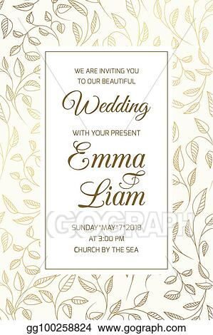 Vector Illustration Wedding Invitation Card Template Swirl Leaves