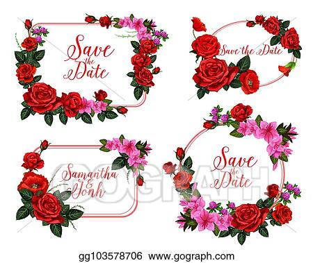 Vector Stock Wedding Invitation Card With Red Flower Frame