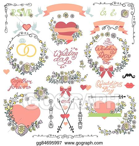 Vector clipart wedding invitation decor setodle floral wreath wedding invitation decor setodle floral wreathheartwords stopboris Image collections