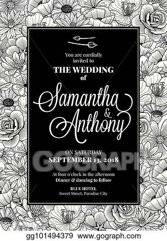 Vector Clipart Wedding Invitation Design Vector Illustration