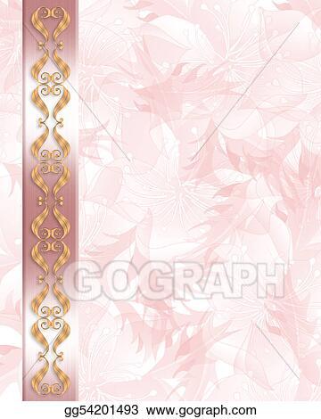 Clip Art Wedding Invitation Elegant Pink Border Stock