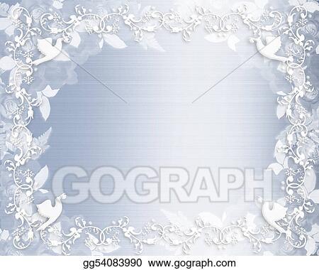 Wedding Invitation Floral Border Blue