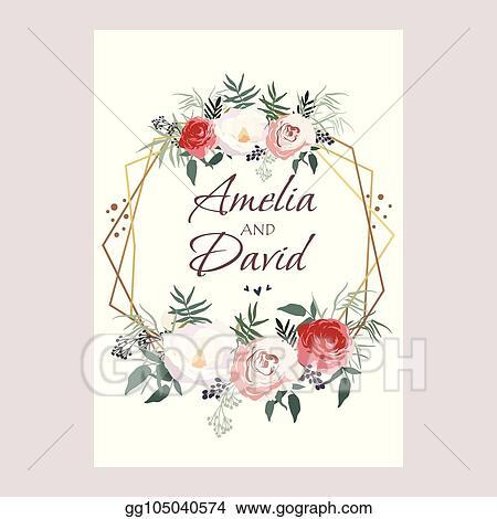 Vector Stock Wedding Invitation Floral Invite Card Design Peach