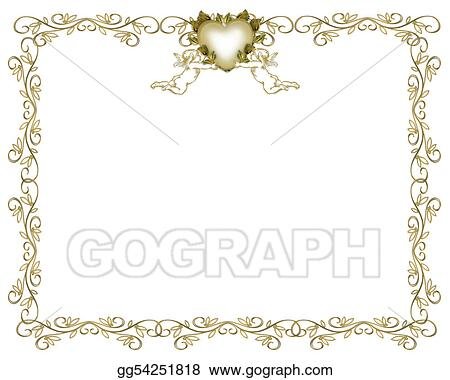 Drawings Wedding Invitation Gold Border Angels Stock