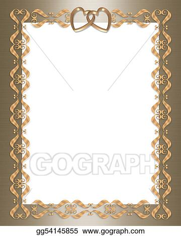 Wedding invitation gold border hearts