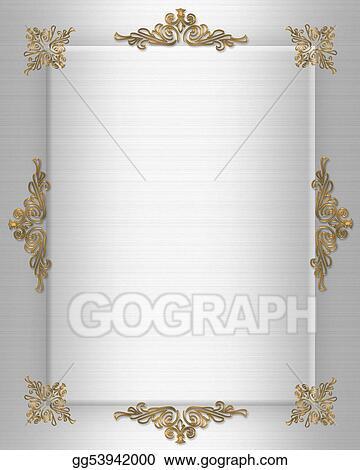 Stock Illustrations Wedding Invitation Gold On Satin Stock