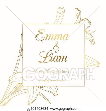 Vector Art Wedding Invitation Lily Lilium Flower Frame Golden