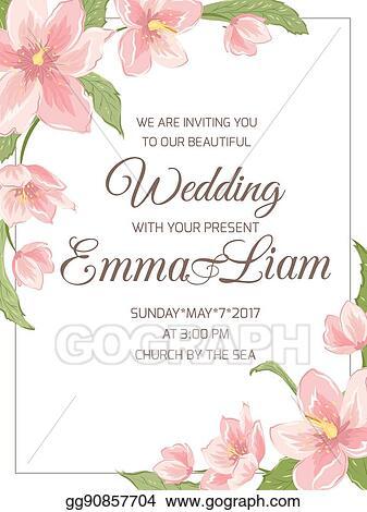 Eps Illustration Wedding Invitation Magnolia Sakura Corner Frame
