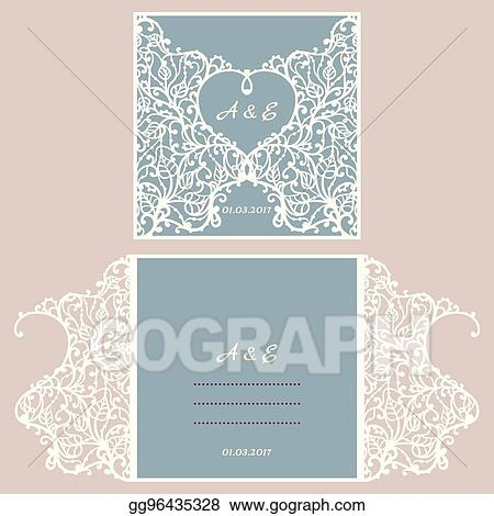 Clip art vector wedding invitation or greeting card with abstract wedding invitation or greeting card with abstract ornament vector envelope template for laser cutting paper cut card with silhouette m4hsunfo