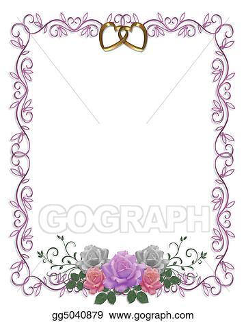 Clipart Wedding Invitation Roses Border Stock Illustration