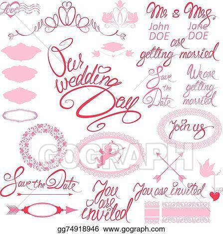 Eps Vector Wedding Invitation Set With Floral Elements Frames