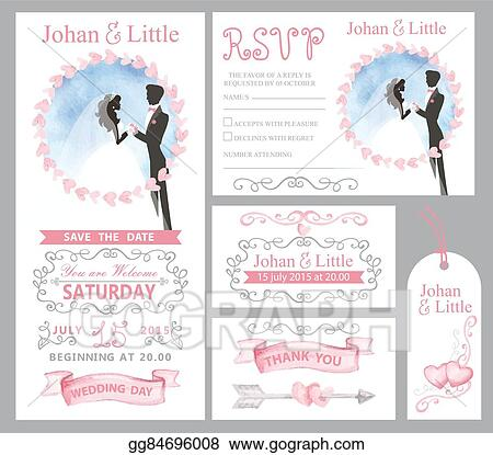 EPS Illustration - Wedding invitation set.couple bride,griim,pink ...