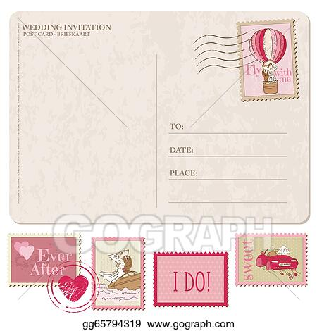 Wedding Invitation Vintage Postcard With Postage Stamps For Design And Sbook In Vector