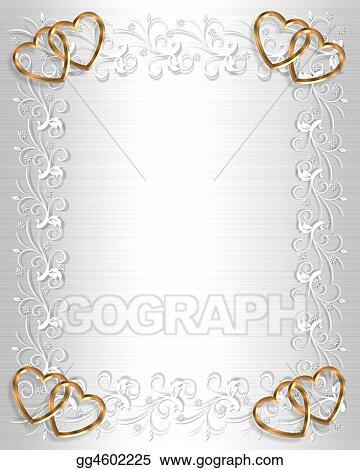 stock illustration wedding invitation white satin gold clipart