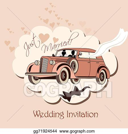 Wedding Invitation With Retro Car Bride And Groom Just Married