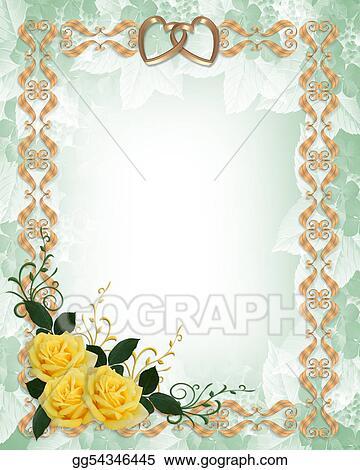 Stock Illustration Wedding Invitation Yellow Roses Gold Border