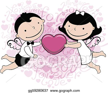 Eps Vector Wedding Or Valentine Card Stock Clipart Illustration